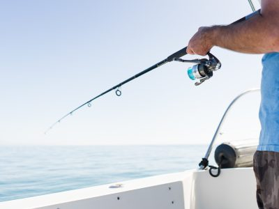 fish, fishing, rod, sea, ocean, water, blue, fisherman